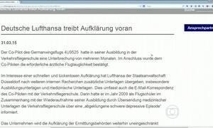 Lufthansa diz que sabia de licença de copiloto para tratar depressão severa