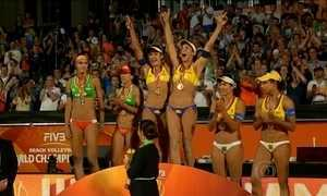 Brasil ocupa todos os lugares do pódio feminino no Mundial de Vôlei de Praia