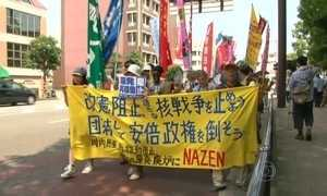 Centenas de moradores fazem manifestação pela paz em Nagasaki
