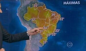 Quarta-feira (16) será de tempo abafado e chuva forte em boa parte do Brasil