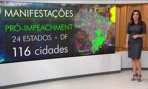 Atos pró e contra impeachment são realizados em 24 estados e no DF