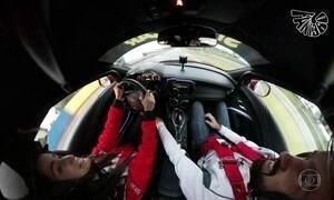 Mari Palma surfa com Mineirinho e corre com Rubinho Barrichello