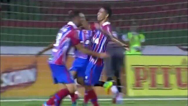 O gurupiense Éder marca pelo Bahia no empate de 1 a 1 com o Fluminense de Feira; confira