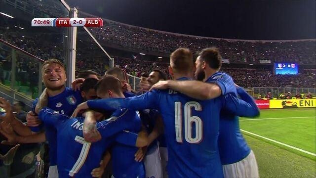 Os gols de Itália 2 x 0 Albânia pelas Eliminatórias da Europa para a Copa do Mundo