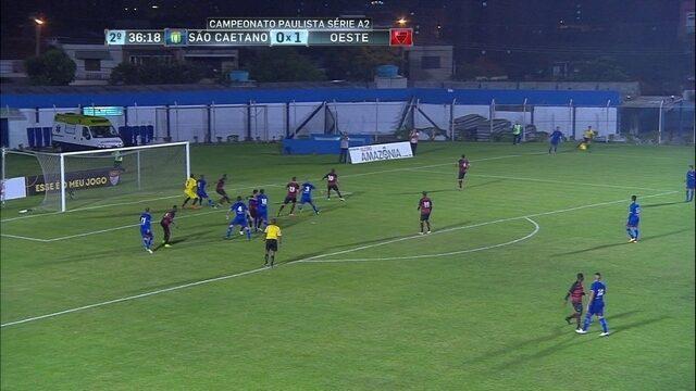 Os gols de São Caetano 1 x 1 Oeste pelo Campeonato Paulista Série A2