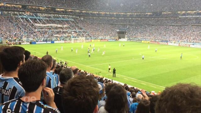Torcida comemora vitória do Grêmio contra o Botafogo na Arena