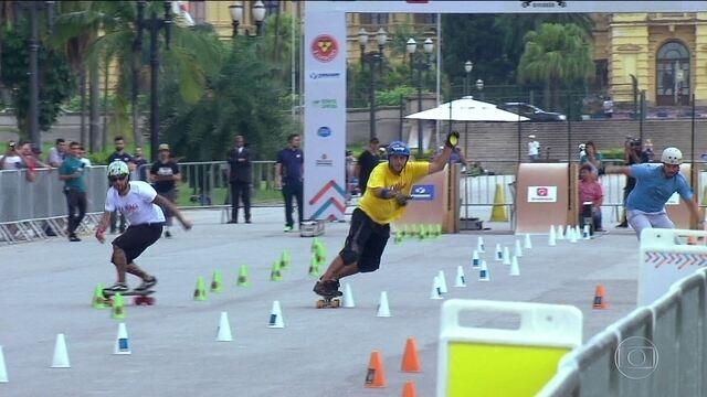 Jogos Urbanos: Confira a prova do slalom no skate diversão