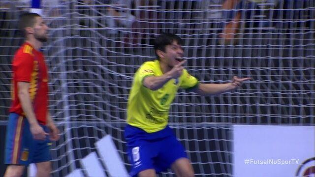 Os gols de Espanha 1 x 3 Brasil em amistoso internacional de futsal