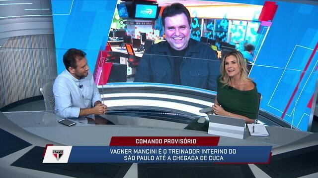 Comentaristas brincam com Jana por ela ter acertado o Mancini como interino do São Paulo