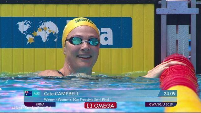 Cate Campbell vence semifinal 1 dos 50m livre e faz 24.09