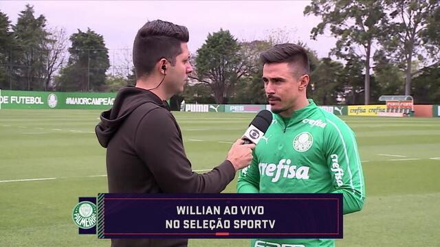 Autor do gol da vitória sobre o Fortaleza, Willian fala sobre mudança de astral no Palmeas
