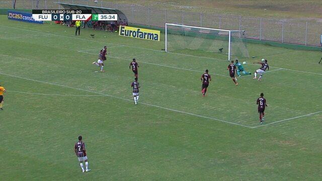 Zaga do Flamengo se enrola, Evaníslon chuta e Hugo defende, aos 35 do 1º tempo