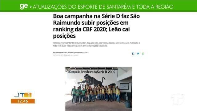 Posição de times santarenos no ranking da CBF 2020 é destaque no GE Santarém e região