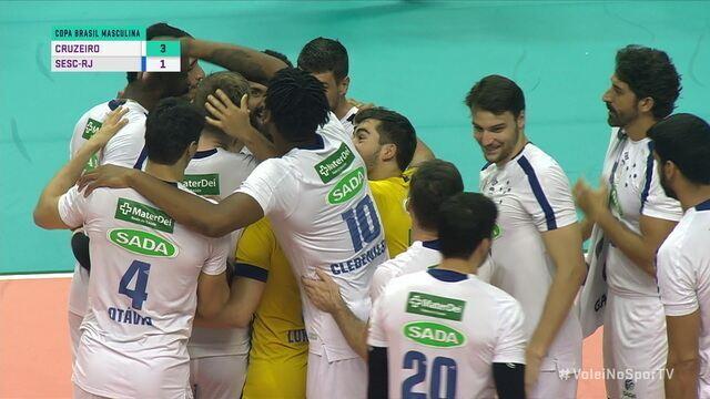 Os pontos finais de Cruzeiro 3 x 1 Sesc pela semifinal da Copa Brasil de Vôlei
