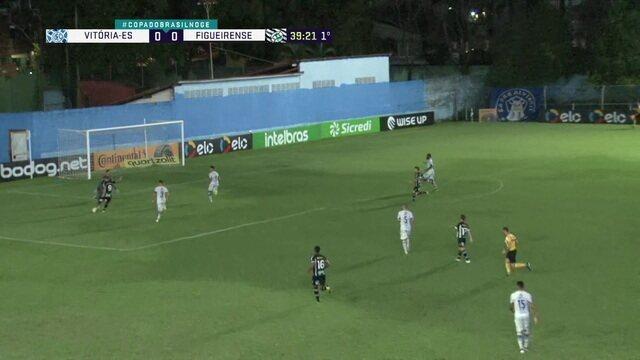 Após falha de Ferrugem, Pedro Lucas invade a área mas chuta em cima do goleiro do Vitória, aos 39' do 1º tempo