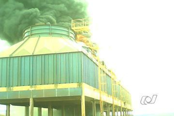 An ethanol plant in Rio Verde, Goias, caught fire on Tuesday afternoon.