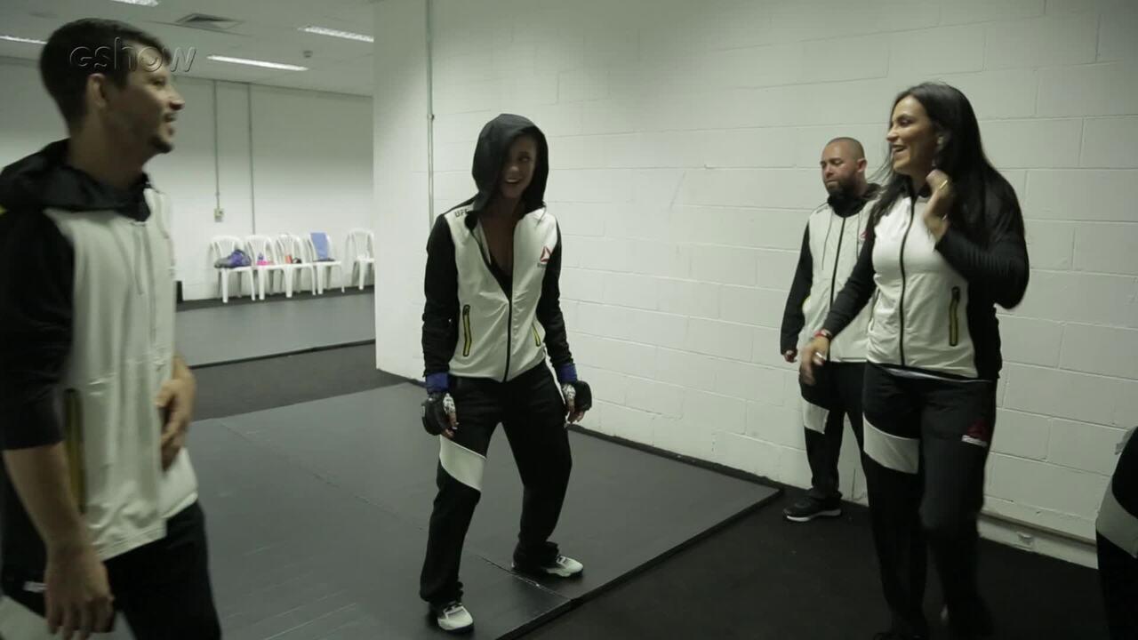 Paolla Oliveira se aquece para gravar cenas de Jeiza no UFC