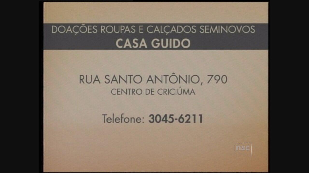 c77556bc84c Casa Guido solicita doação de roupas e sapatos para bazar beneficente - G1  Santa Catarina - Jornal do Almoço - Catálogo de Vídeos