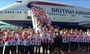 Equipe olímpica da Grã-Bretanha desembarca em Londres