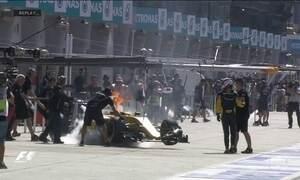 Primeiro treino livre do GP da Malásia tem susto nos boxes