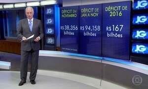 Contas do governo registram rombo recorde em novembro