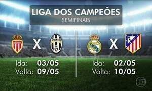 Uefa sorteia os confrontos das semifinais da Liga dos Campeões da Europa
