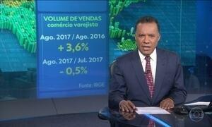 Vendas do comércio em agosto aumentam 3,6% em relação ao mesmo mês de 2016