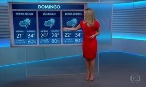 Domingo (14) vai ser de tempo chuvoso em quase todo o país