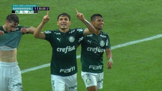 Gol do Palmeiras! Raphael Veiga aproveita a sobra na área e faz, aos 32 do 1ºT