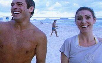 Luigi Baricelli desafia Glenda Kozlowski no beach tennis - Quem será que ganhou a partida? Jornalista mostra ainda a redação da Central Globo de Jornalismo