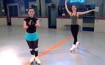 Cristiana Peres dá aula de patinação a Geovanna Tominaga - A Cristiana de Malhação ID encontra a apresentadora no Rocket Stone.