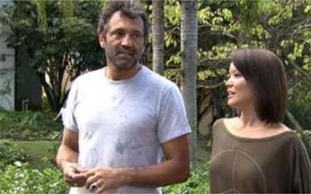 Geovanna Tominaga bate um papo com o ator Domingos Montagner - Ele interpreta o capitão Herculano em Cordel Encantado