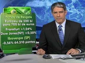 Ministros de 17 países da Europa ampliam recursos para resgatar economias com problemas - Os ministros de Finanças de 17 países, que adotam o euro como moeda, ampliaram de 500 para 700 bilhões de euros os recursos disponíveis. As bolsas da Europa e de Nova York encerraram em alta. O dólar caiu para R$ 1,826.