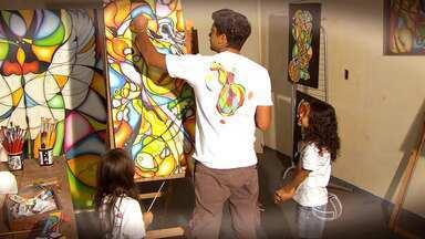 O artista plástico Adriano Figueiredo mostra a seu trabalho - Adriano Figueiredo conta sua história e mostra o seu talento.