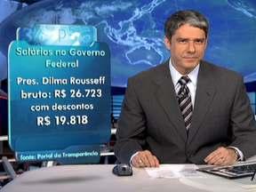 Governo divulga salários da presidente e dos ministros - O salário bruto da presidente Dilma é de R$ 26,723 mil. Com os descontos, fica em R$ 19,818. A divulgação obedece à lei de acesso à informação, que entrou em vigor no mês passado.