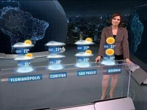 Sul do Brasil deve ter mais chuva na quarta-feira (25) - Na quarta, tem previsão de chuva para o norte do Rio Grande do Sul, Santa Catarina, Paraná e oeste de Mato Grosso do Sul. Uma massa de ar frio vai avançar para o Sul do país. De madrugada, pode até gear no centro e no sul do estado gaúcho.