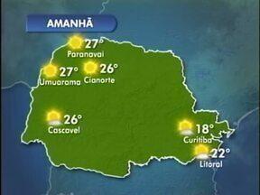 Sol e tempo aberto nesta terça-feira - O sol aparece desde cedo e deixa o tempo mais quente. A máxima chega aos 27º em Paranavaí e em Umuarama.