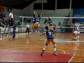 Time adulto de vôlei do UTC joga contra Minas Tênis em Uberlândia - Time da capital fez jus ao títulos que tem e dificultou vida dos representante do Triângulo no estadual ao vencer por 3 sets a 0.