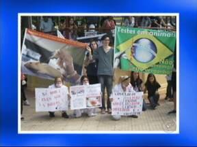 Protestantes pedem fim do uso de animais em pesquisas científicas em São Roque, SP - Em São Roque (SP), dezenas de pessoas fizeram uma manifestação neste domingo (19) contra o uso de animais em pesquisas científicas. Os ativistas se reuniram na praça da República, no Centro.