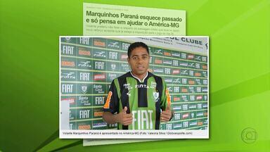 Marquinhos Paraná é apresentado no América-MG - Jogador, que já passou pelo Cruzeiro e estava no Sport, é o novo reforço do Coelho para a disputa da Série B.