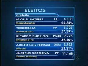 Veja a relação de alguns prefeitos eleitos no oeste do Paraná - Em Medianeira, o resultado final ainda depende de decisão da Justiça Eleitoral