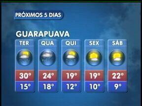 A terça-feira vai ter sol e chuva em Guarapuava - O dia tem sol e possibilidade de chuva na região. As temperaturas sobem mais e a máxima prevista é de 30 graus na cidade.