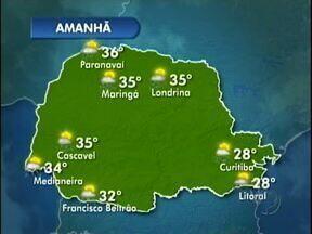 Uma frente fria chega ao Paraná e provoca pancadas de chuva nas regiões oeste e sudoeste - As temperaturas continuam altas.