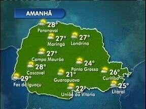 Previsão para terça-feire é de sol e pancadas de chuva - Máxima na capital chega aos 26º