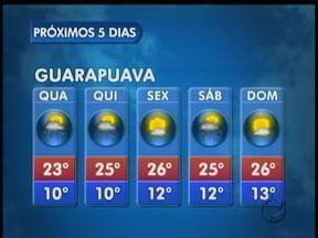 A quarta-feira vai ser de tempo instável na região de Guarapuava - O sol pode aparecer mas estão previstas pancadas de chuva na cidade.