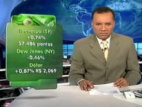 Bolsa de Valores de São Paulo fecha em alta no mercado - Ibovesp fechou com + 0,74 %, com o total de 57.486 pontos. Bolsa de Nova Iorque, no entanto, fechou em queda. A Dow Jones teve recuo de 0,46%. No Brasil, a cotação do dólar subiu para R$ 2,069, um aumento de 0,87%.