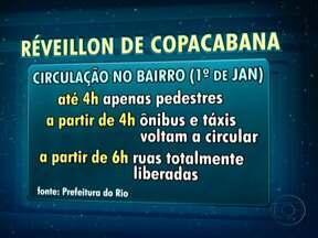 Copacabana terá esquema de trânsito especial para o réveillon - Nenhum veículo poderá circular pelo bairro a partir das 22h do dia 31. Para ir de metrô, o público poderá usar as estações Cardeal Arcoverde, Siqueira Campos, Cantagalo e General Osório. As ruas serão exclusivas para pedestres até às 4h.