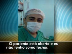 Médico grava vídeo durante cirurgia para reclamar da falta de material em hospital do RN - O hospital público é o maior do Rio Grande do Norte. Ele protesta informando que não tem fio adequado para fechar o tórax do paciente.