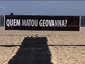 ONG Rio de Paz faz protesto na praia de Copacabana - A ONG protestou pela morte de Geovanna Barros Firmino, de apenas um ano de idade. Ela foi morta numa tentativa de assalto em Belford Roxo.