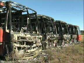 Incêndio que destruiu ônibus do transporte coletivo em Ampére pode ter sido criminoso - Os ônibus não chegaram a circular pela cidade porque são muito grandes e não cabem nas ruas estreitas.